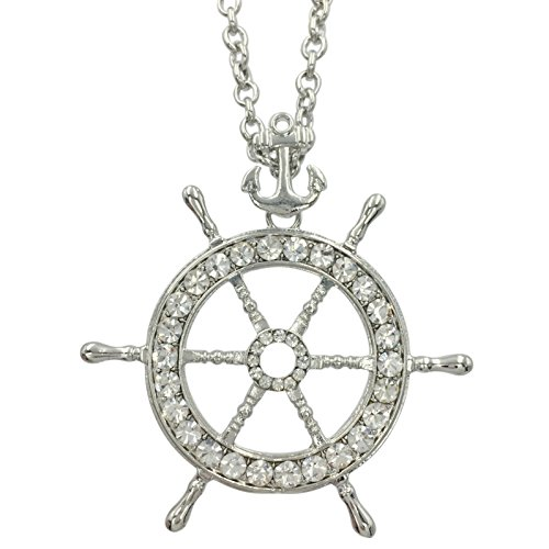 Long Ship Wheel & Anchor Rhinestone Bling Nautical Theme Necklace (Silver Tone) ()