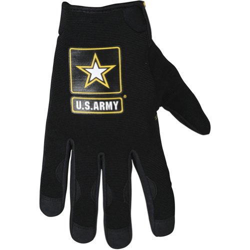 Power-Trip US Army Halo Men's Textile Vented Street Racing Motorcycle Gloves - Black / 2X-Large