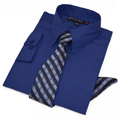 Boys Dress Shirt with Tie and Handkerchief #JL26 (2T, Light Navy)