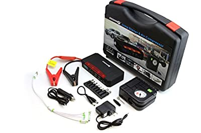 LB1 High Performance 600Amp Portable Battery Jump Starter with Air Compressor for Cars, Trucks, SUV, Van, Motorcycles, Highest Capacity 21000mAh Power Bank Battery Pack, Laptop Charger, LED Flashlight