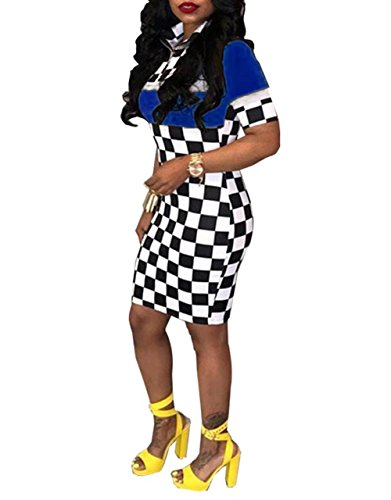 Women Short Sleeve Zip-up Color Block Bodycon Checker Racing Mini Dress Blue XL ()