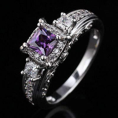 FidgetGear 4.5MM Princess Cut Stone Wedding Ring Silver for Wife 8 Purple ()