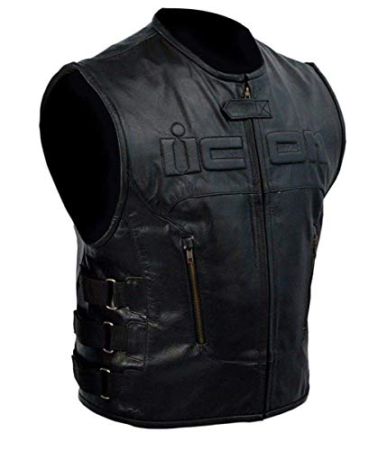 Icon Mens Regulator - Skull Regulator Icon Biker Black Leather Vest (XXX-Large)