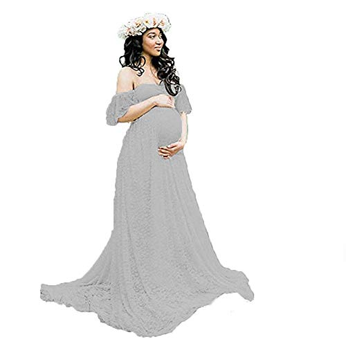 Women's Off Shoulder Ruffle Sleeve Lace Maternity Gown Maxi Photography Dress (Gray, Medium) ()