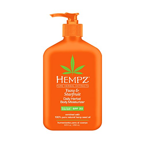 Hempz Yuzu & Starfruit Daily Herbal Moisturizer with Broad Spectrum SPF 30 - Fragranced, Paraben-Free Sunscreen with 100% Natural Hemp Seed Oil for Women - Premium Skin Care Products (Best Body Moisturizer With Spf)
