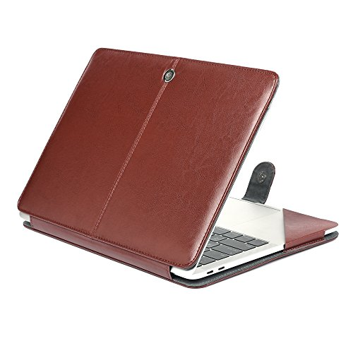 Price comparison product image Jennyfly 13.3 inch MacBook Pro Protection Case,  PU Leather MacBook Protective Carrying Cover Book Cover Clip On Protective Sleeve Case for MacBook Pro 13.3 inch Model A1278 - Brown