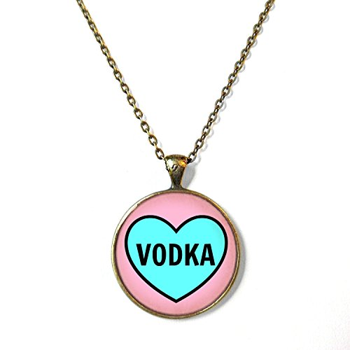 Funny Blue and Pink Vodka Heart Necklace, (Heart Vodka)