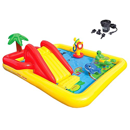 (Intex Ocean Play Center Kids Inflatable Wading Pool + Quick Fill Air Pump)