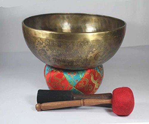 10.5 Inch Double Carving Handmade Tibetan Singing Bowl Himalayan Crafts HCESB-505