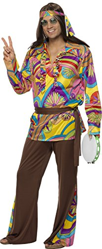 Mens 60s Costumes (Smiffy's Men's Psychedelic Hippie Man Costume, pants, Shirt, Headband and Belt, 60 Groovy Baby, Serious Fun, Size L, 32032)