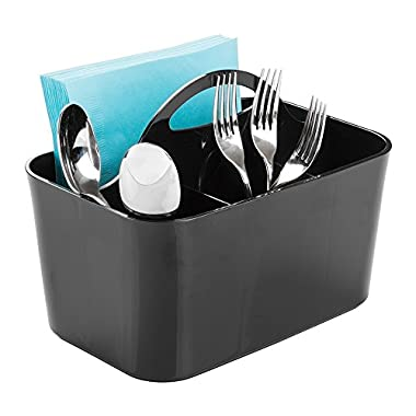 mDesign Cutlery Flatware Caddy, Silverware, Utensil, and Napkin Holder - Black
