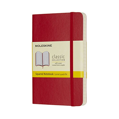 Moleskine Classic Notebook, Soft Cover, Pocket (3.5 x 5.5) Squared/Grid, Scarlet Red