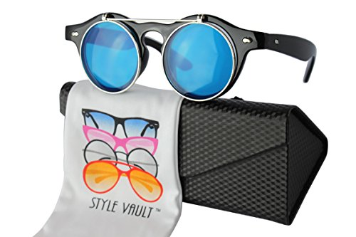 W110-ec Style Vault Round Wayfarer Flip up steampunk Sunglasses Clear lens Glasses (S3409V Black-Candy blue, - Up Flip Sunglasses Wayfarer