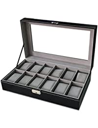 WBPU12-03 Watch Dislpay Box Organizer, Pu Leather with Glass Top, Large, Black