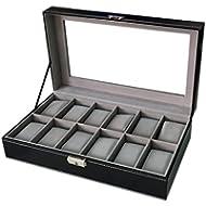 Sodynee WBPU12-03 Watch Dislpay Box Organizer, Pu Leather with Glass Top, Large, Black