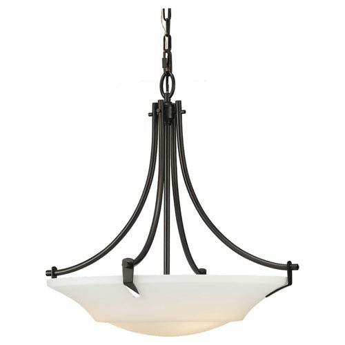 Rubbed Bronze Bowl Pendant (Murray Feiss Lighting F2245/3ORB Barrington - Three Light Pendant, Oil Rubbed Bronze Finish with Opal Etched Glass)
