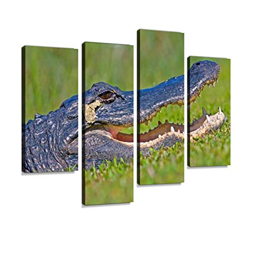 (American Alligator Canvas Wall Art Hanging Paintings Modern Artwork Abstract Picture Prints Home Decoration Gift Unique Designed Framed 4 Panel )