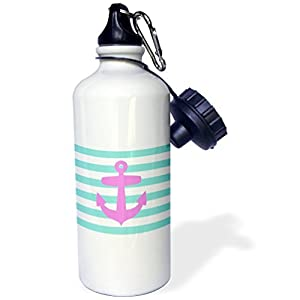 Sports Water Bottle Gift, Retro Nautical Pink Anchor With Teal Turquoise Blue Sailor Stripes Pattern White Stainless Steel Water Bottle for Women Men 21oz