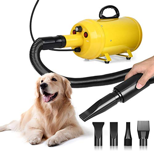 amzdeal Dog Dryer Dog Hair Dryer 3.8HP 2800W Pet Blow Dryer Professional Dog Grooming Dryer Dog Blower with Adjustable Speed and Temperature, Spring Hose, and 4 Different Nozzles (Dryer Hair For Dogs)