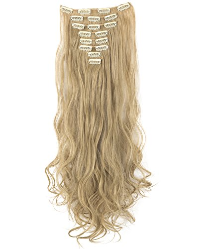 8Pcs 18 Clips 17-26 Inch Curly Straight Full Head Clip in on Hair Extensions Women Lady Hairpiece,Ash Blonde Mix Bleach Blone#1,24 Inch-Curly by DODOING (Image #1)