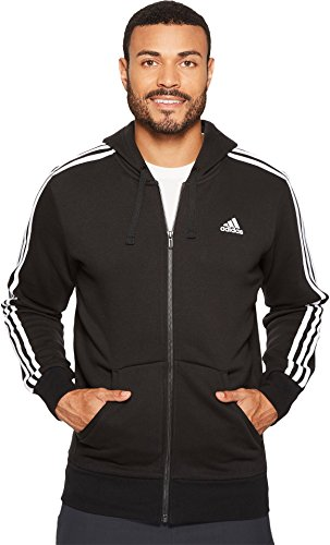 adidas Mens Essentials 3-Stripe Full Zip Fleece Hoodie, Black/White, Medium