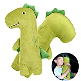 Car Seat Strap Belt Cushion Cover, Neck Support Pillow Adjustable Seat Strap Shoulder Pads, Cute Green Stuffed Dinosaur, for Kids