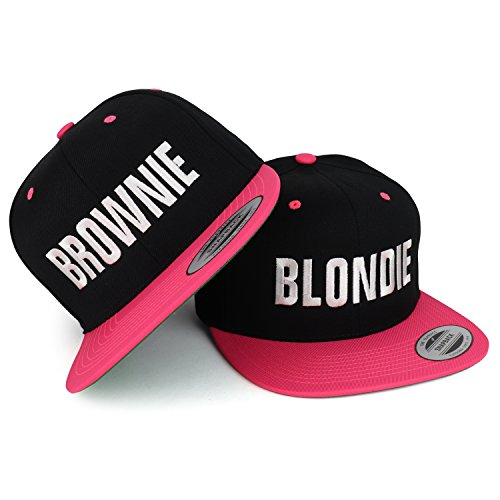 Trendy Apparel Shop Blondie and Brownie White Embroidered Flat Bill 2-Tone Baseball Cap - 2pc Set - Black - Brownie White