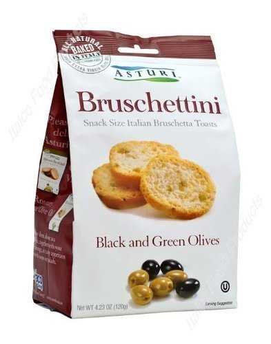 Asturi Black & Green Olive Bruschettini (Snack Size Italian Bruschetta Toasts), Buy TWELVE Bags and SAVE, Each Bag is 4.23 oz (Pack of 12)