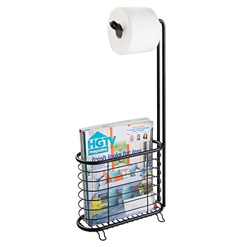 [mDesign Free Standing Toilet Paper Holder with Newspaper and Magazine Rack for Bathroom - Matte Black] (Black Newspaper Holder)