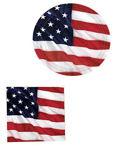 Patriotic Flying Colors - Patriotic Flying Colors - Plates & Napkins - 30 Piece Set (Serves 15)