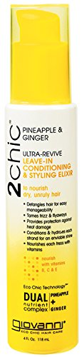 - Giovanni Hair 2chic Ultra-Revive Leave-In Conditioning & Styling Elixir, 4 oz, Complex of Pineapple & Ginger, Pro Vitamin B5, Honeysuckle, Sulfate Free, Color Safe