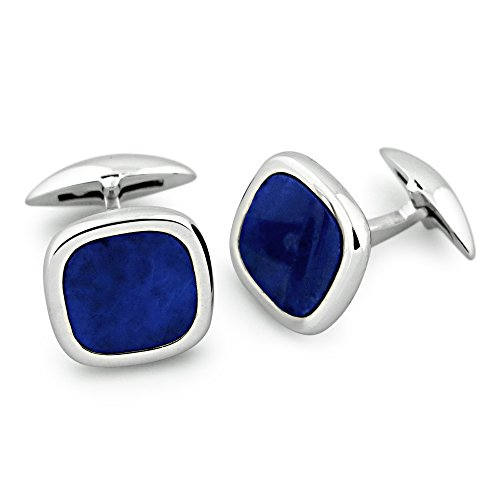 Zsamuel Mens Sterling Silver Lapis Rounded Square - Lapis Cufflinks Genuine