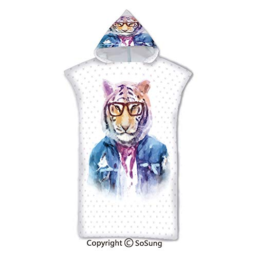 - Quirky Decor Kids Hooded Beach Bath Towel,Intellectual Tiger with Scarf Torn Denim Jacket and Glasses Watercolor Artwork Decorative,7-15 Years Old Microfiber Bath Robe,Multicolor,for Beach Pool Shower