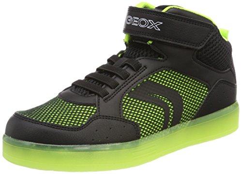Geox J Kommodor C, Zapatillas Altas Para Niños Schwarz (Black/Lime)