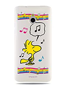 GRÜV Premium Case - 'Peanuts Woodstock Musical Rainbow' Design - Best Quality Designer Print on White Hard Cover - for HTC One Mini M4 601e 601s