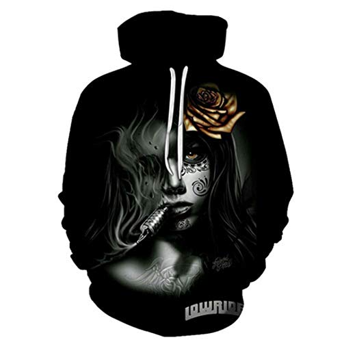 stupy Couple Casual Skull Printed Hoodies Sweatshirt Cool 3D Print Hoodie Men Women Tracksuit Sweatshirt Pullover Coat Outdoor Tops 2X
