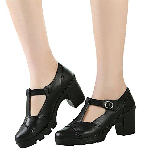 DADAWEN Women's Classic T-Strap Platform Mid-Heel Square Toe Oxfords Dress Shoes Black US Size 9 by DADAWEN (Image #8)