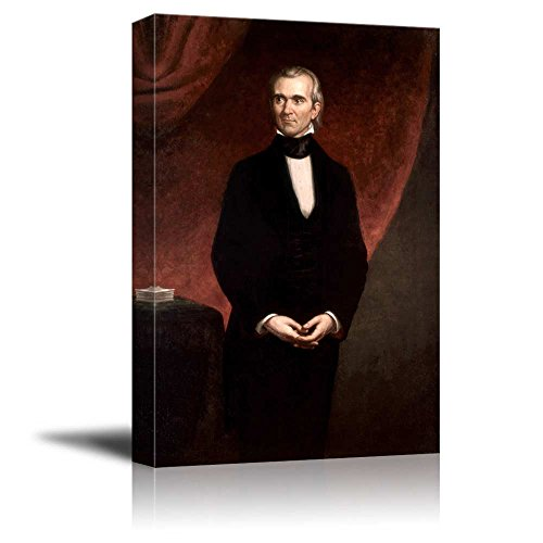 wall26 - Portrait of James K. Polk by George Peter Alexander Healy (11th President of The United States) - American Presidents Series - Canvas Wall Art Gallery Wrap Ready to Hang - 16x24 inches ()