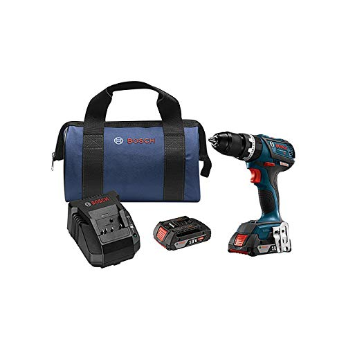 Bosch HDS183-02-RT 18V 2.0 Ah Cordless Lithium-Ion Brushless Compact Tough 1/2 in. Hammer Drill Kit (Renewed) ()