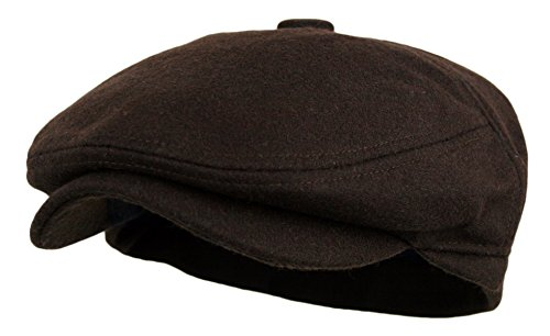 Men's 5 Panel Vintage Style Wool Blend Gatsby Ivy Newsboy Hat (Dk. Brown, - Small Men With Head