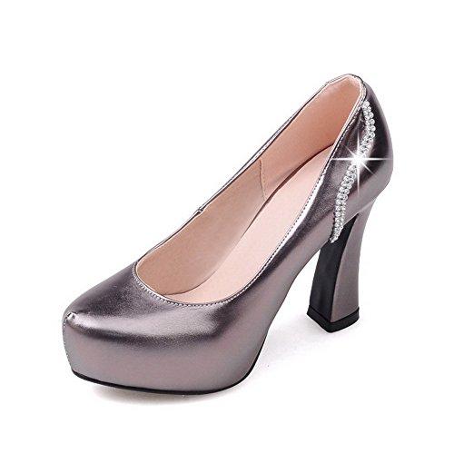 VogueZone009 Damen Hoher Absatz Ziehen auf Rein Blend-Materialien Rund Zehe Pumps Schuhe Grau