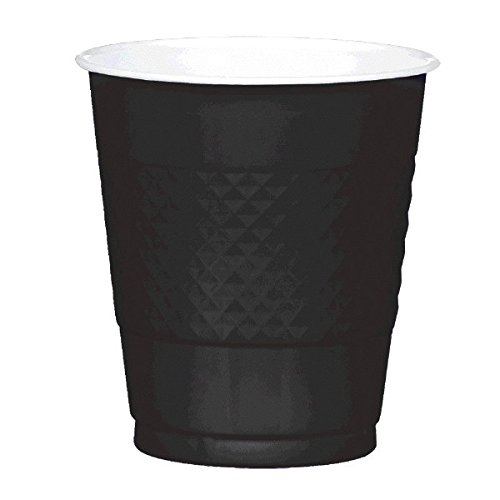 Jet Black Plastic Cups | 12 oz. | Pack of 20 | Party Supply