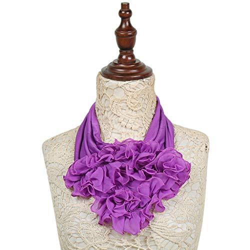 陰謀質量納得させるHaoruiqi 女性のソリッドカラーの花の襟のスカーフ豪華なネクタイーリングネックスカーフ 柔らかい