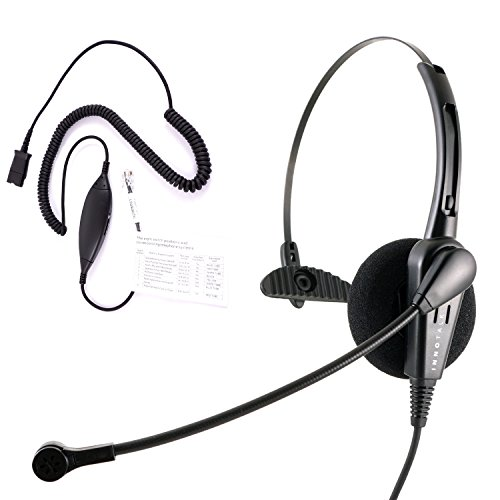 Plantronics compatible QD Call Center Monaural Hands Free Phone Headset with a RJ9 headset adapter for Cisco Avaya Panasonic Nec Mitel Polycom Notel and Many (Avaya Universal Telephone Accessories)