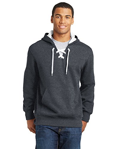 Sport-Tek Men's Lace Up Pullover Hooded Sweatshirt 3XL Graphite Heather from Sport-Tek