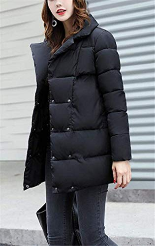 Vintage Autumn Quilted Pockets Color Solid Unique Long Quilted Schwarz Outerwear Overcoat with Winter Jackets Close Jacket BoBoLily Buttons Festive Ladies Jacket Sleeve Down Tz4qTPtxw