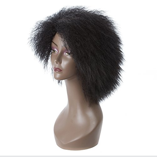 Search : LMY Short Pixie Cut Afro Kinky Curly Synthetic Wigs With Bangs For Black Women Natural Black/Red African American Hair Wigs (black)
