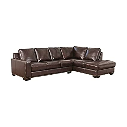 Abbyson Living Marney Leather Right Facing Sectional In Brown