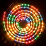 10m COLOUR ROPE LIGHT FLASHING CHRISTMAS OUTDOOR GARDEN XMAS FESTIVE DECORATION