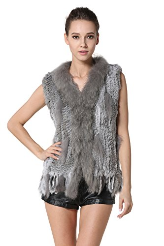 MEEFUR Rabbit Fur Vests With Raccoon Fur Collar Real Fur Knitted Women Waistcoat (Grey, US4)